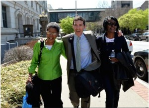 Dessa Curb, Sandy Wallack and Curb's sister leave the courthouse after being acquitted in the APS cheating trial.